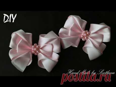 Резинки с бантиками из лент КАНЗАШИ DIY Bows made of ribbon Kanzashi Laço de Cetim Curva da fita 10