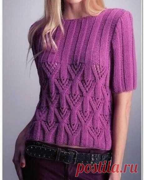 Симпатичный узор для пуловера. Схема вязания прилагается.