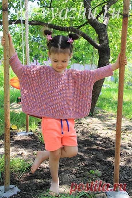Оверсайз-джемпер для девочки с использованием укороченных рядов спицами | Вязальное настроение...