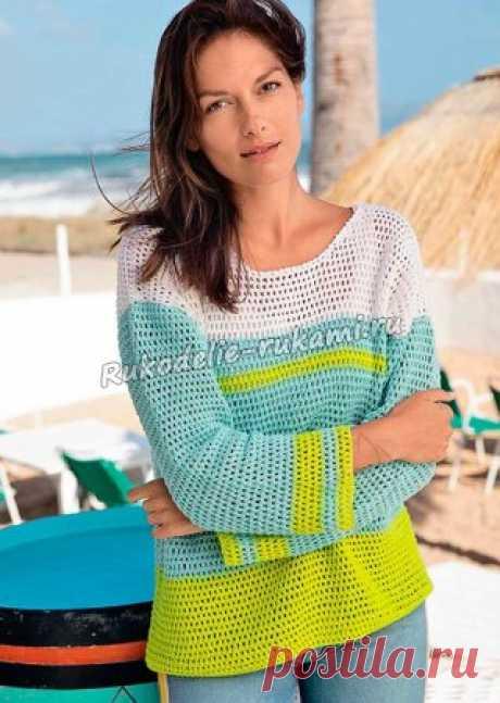 Трехцветный пуловер в полоску крючком