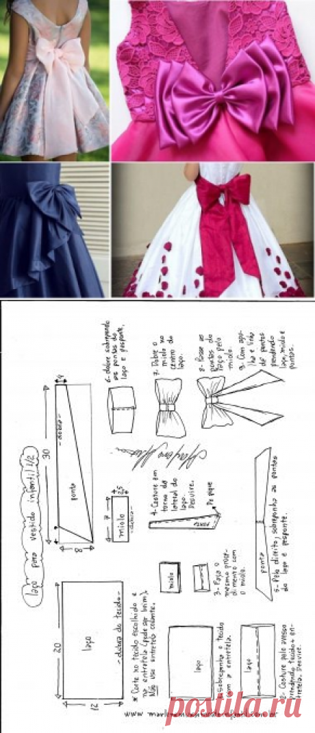 c2fc4bc1a9 Laço para vestido infantil – DIY- marlene mukai – molde infantil
