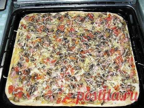 Как приготовить пиццу с тонкой хрустящей основой за 20 минут.  На приготовление этой пиццы у меня ушло 20 минут! Для начала зажжем духовку ...  Тесто: - 2 ложки сметаны, - 100-150 г кефира, - 50 г масла или маргарина (растопить), - Соль - треть ч.л., - 0,5 ч.л соды, - мука, - щепотка сахара.