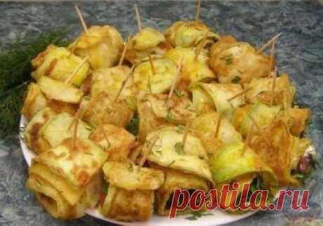 Популярная закуска — Жареные кабачки «Тещин язык» с помидорами