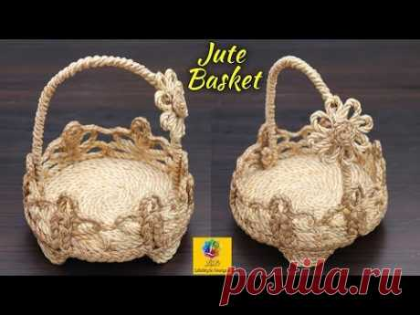 How To Make a Flower Basket With Jute Rope | Jute Rope Basket | Best Out Of waste Jute Craft Idea