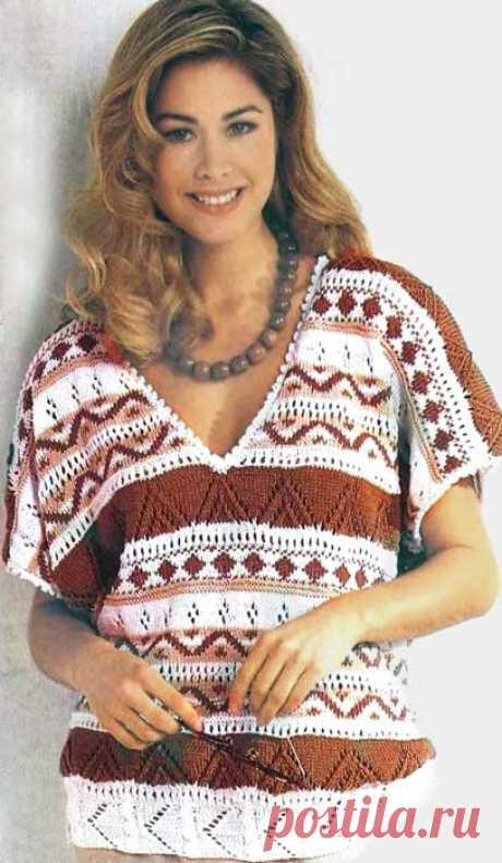 Ажурный вязаный пуловер с жаккардовым узором
