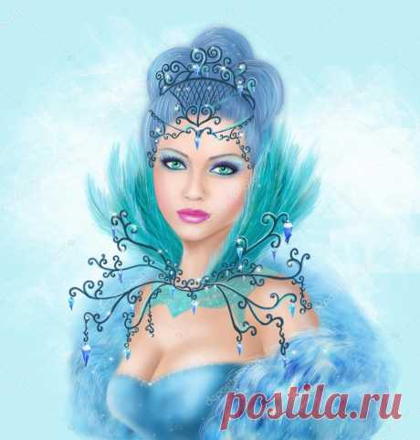 Красива Королева Снежная! Лицом безумно хороша! Но,посмотрите в её душу... Души то нет...там холода,  Живёт она в уединении, Замок весь из хрусталя, Одета в платье белое, парчовое... Расшито  бриллиантами оно,  Вокруг замка ледяные глыбы, Сугробы вечные лежат, Карета у неё изящная,шикарная, В тройку белых коней запряженА,  Бывает выезжает к людям, В их души холода несёт, Стороной они её обходят, Но,в сказках всё ж она живёт...
