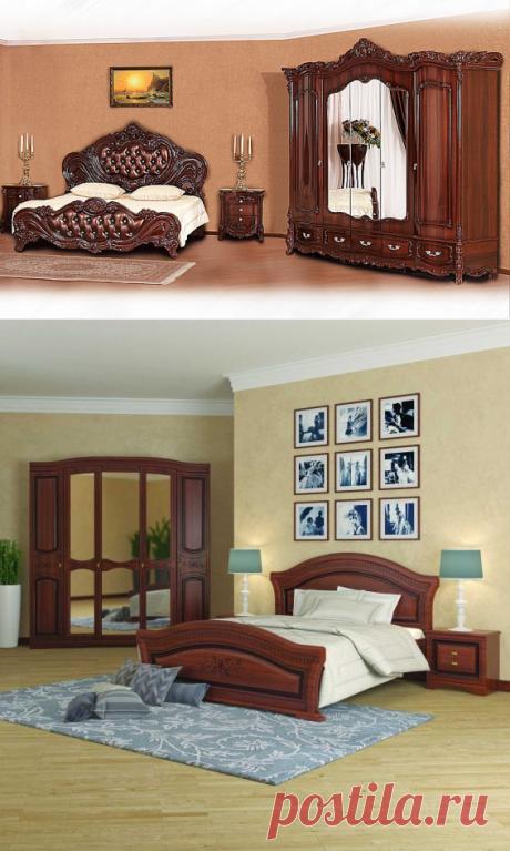 Los muebles del color la nuez en la decoración del dormitorio, la cocina y la sala