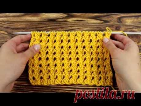 Вафельный узор. Ажурной вязание