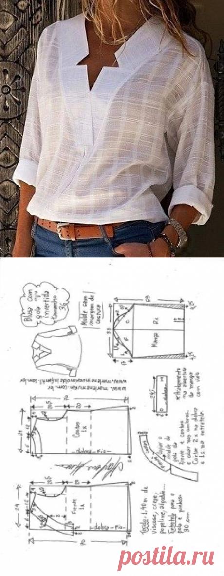 Схема моделирования блузки с вырезом V шеи с перевернутым воротником от 36 до 56.  - Marlene Mukai