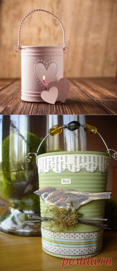 Decor of cans from different materials and ultrafashionable ideas of registration