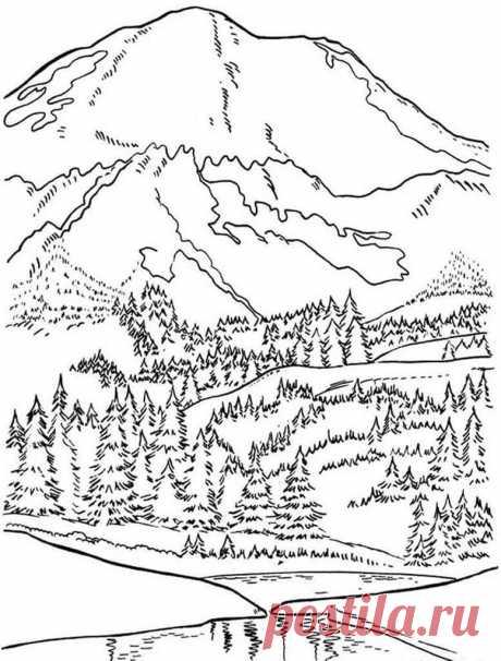Раскраски Горы для детей 3-10 лет. Раскраски по теме Природа.