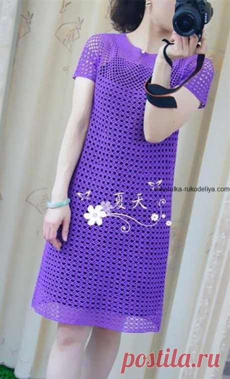 Летнее платье Летнее платье крючком сетчатым узором. Женское платье простим узором 2019