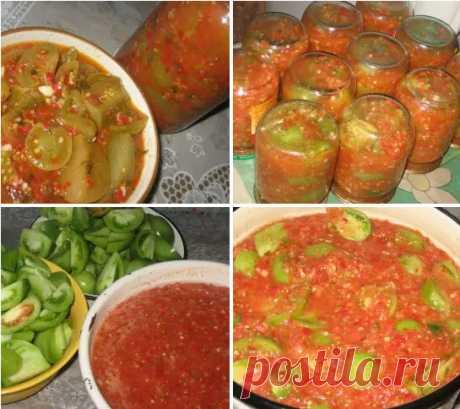 Зеленые помидоры в аджике Зеленые помидоры в аджике Аджику я делаю очень острую. Салат этот тоже очень острый, но, не смотря на это, съедается очень быстро. Продукты Помидоры
