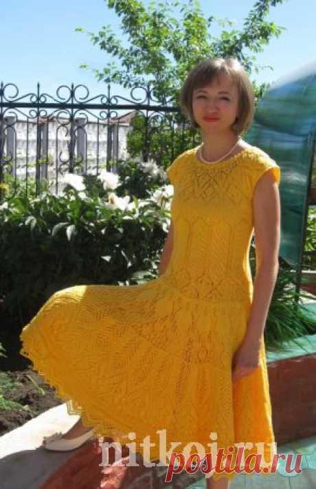 Желтое летнее платье » Ниткой - вязаные вещи для вашего дома, вязание крючком, вязание спицами, схемы вязания