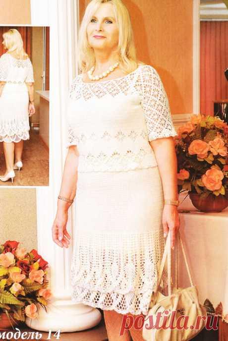 Белый костюм для элегантных женщин крючком со всеми схемами вязания, выкройкой и полным описанием