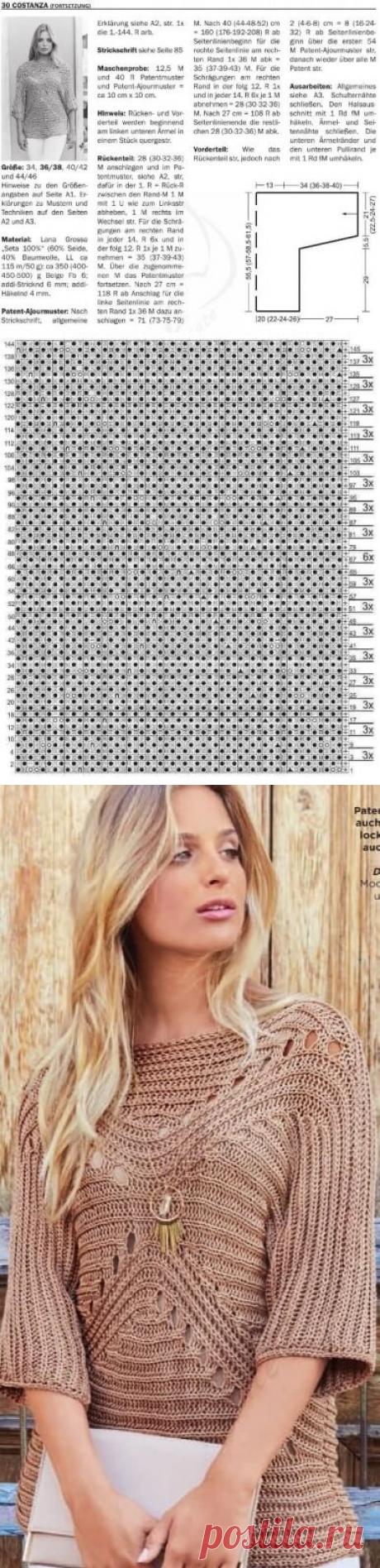 Пуловер связанный спицами резинкой в разных направлениях | Тысяча и одна идея