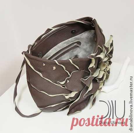 """Сумка кожаная """"Астра"""" - коричневый,однотонный,сумка ручной работы,сумка кожаная"""