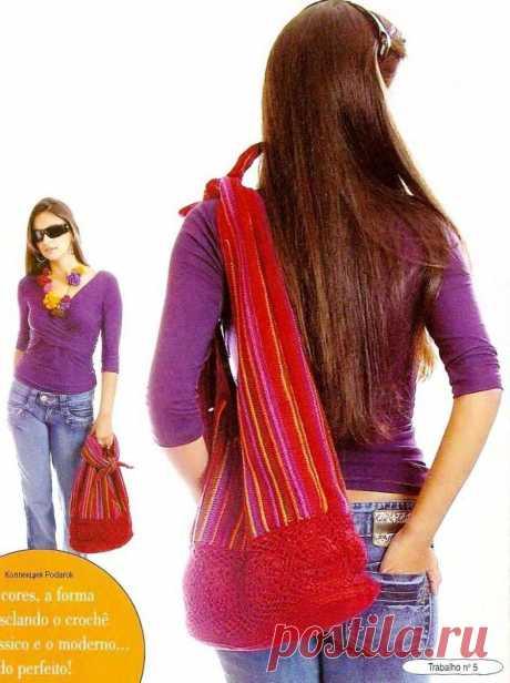 Красная сумка связанная крючком схема - Вязанные сумки