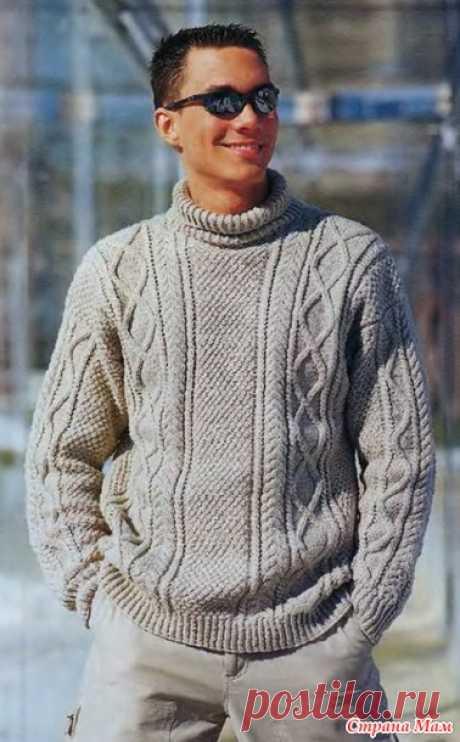 Мужской пуловер с ирландским узором - Вязание - Страна Мам