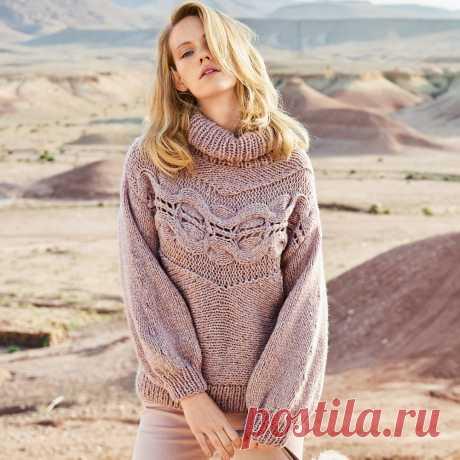 Свитер с поперечной косой крупной вязки - Портал рукоделия и моды