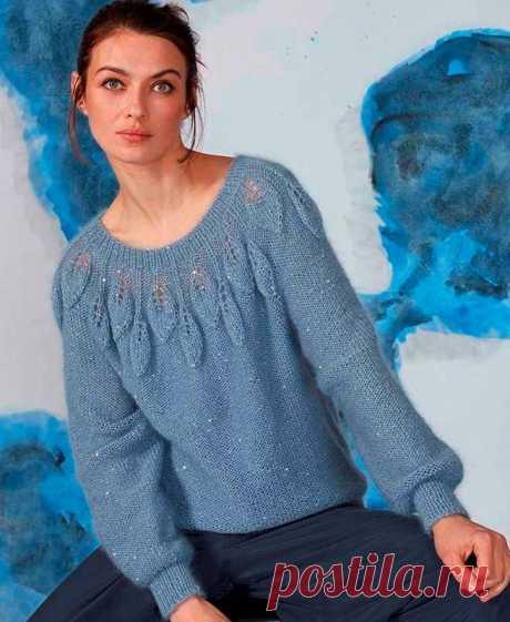 Пуловер с круглой кокеткой и узором «листья»