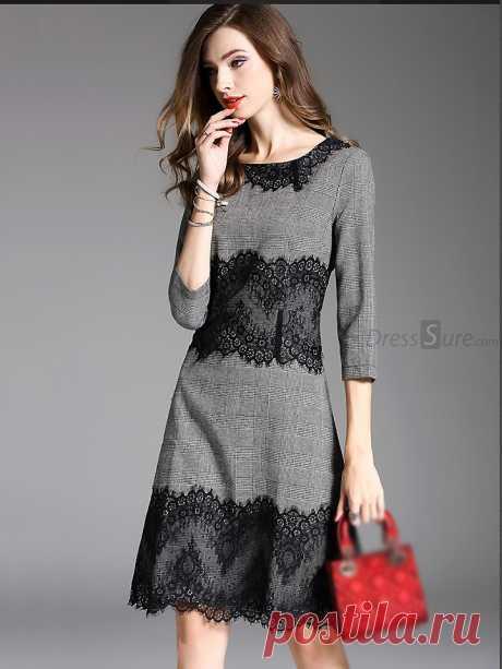 Vintage Lace Stitching O-Neck Skater Dress - DressSure.com