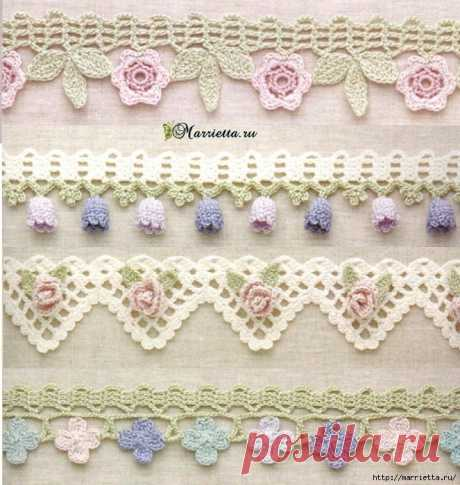 Flower border hook. Schemes of knitting