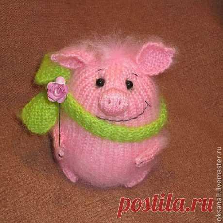 """Купить Вязаная игрушка """"Хрюшка"""" - бледно-розовый, поросята, игрушка, вязаная игрушка, подарок"""