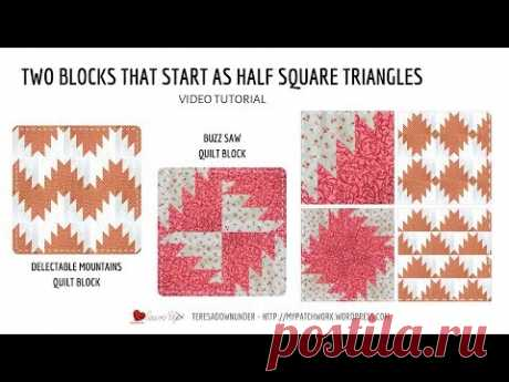 Two blocks that start as Half Square Triangles