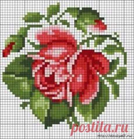 Схема вышивки розы крестиком. Бисером