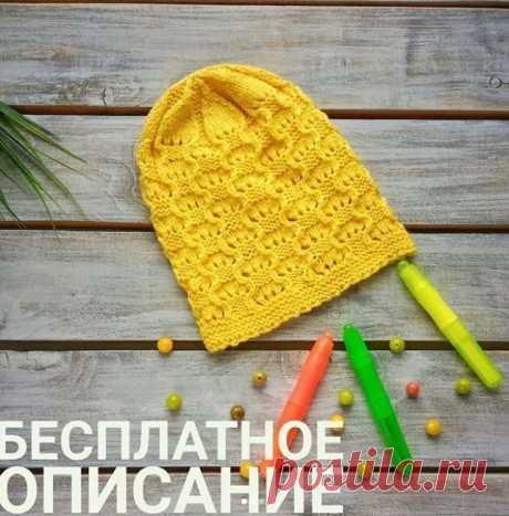 Ажурная шапочка спицами для девочки,  Вязание для детей
