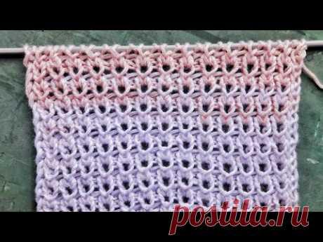 Очень простой и легкий ажурный узор на основе резинки для вязания летних топов, джемперов, шапочек