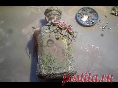 Декор бутылки в стиле шебби шик. Мастер класс - YouTube