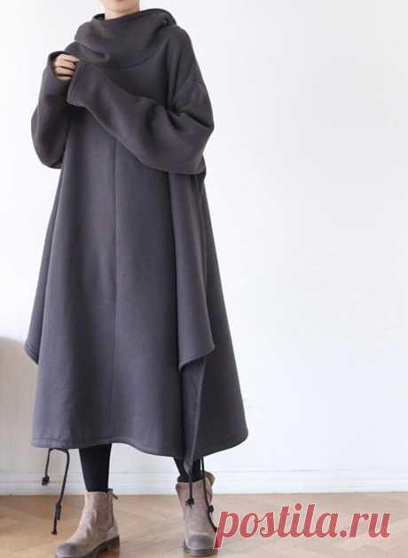 Women Dress Cotton Oversized Dresses Hooded cape dress   Etsy