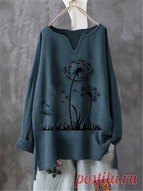 Lässig Print Langarm Shirts & Blusen&Shirts – glamtome