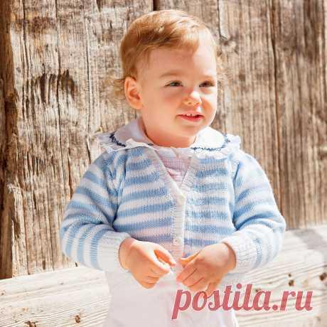Детская кофточка с V-образным вырезом - схема вязания спицами с описанием на Verena.ru