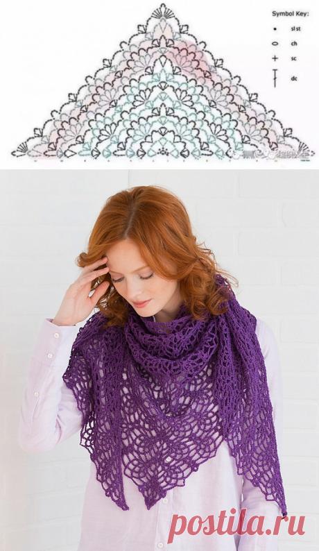 Красивая цветочная шаль крючком из категории Интересные идеи – Вязаные идеи, идеи для вязания