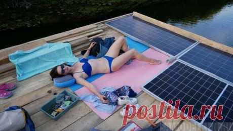 Сплав на самодельном плоту с электродвигателем и солнечными панелями | Самоделки своими руками