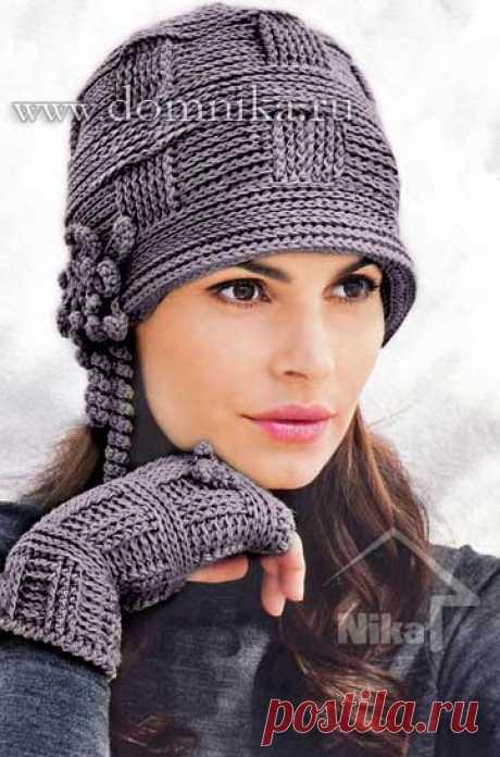Стильная вязаная женская шапка
