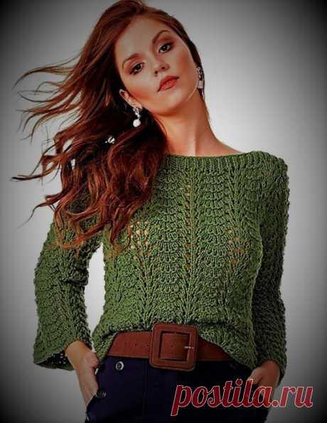 Женский пуловер с волнообразным узором Размер: 38-40. Вам потребуется:  - 2 мотка зеленого цвета (номер 5718) (100% хлопок, 238 м/200 г),- спицы №6.  Нравится публикация? И хочется видеть почаще описания пуловеров? Дайте нам знать! Напишите об этом в комментариях!