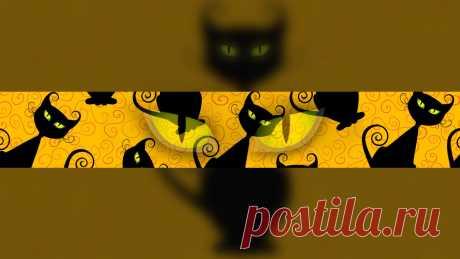 Чёрная кошка - баннер для фона ютуба, шаблон можно скачать бесплатно на SY.