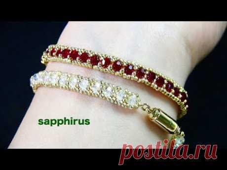 【ビーズステッチ中級】ビーズだけで作るテニスブレスレット☆作り方 How to make a tennis bracelet / seed beads and swarovski crystals.