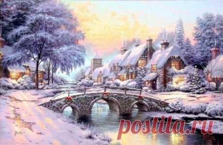 Thomas Kinkade|Зимний сказочный пейзаж