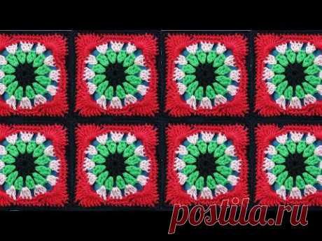 ВЕСЕЛЫЙ КВАДРАТ   квадратный мотив крючком Crochet square motif