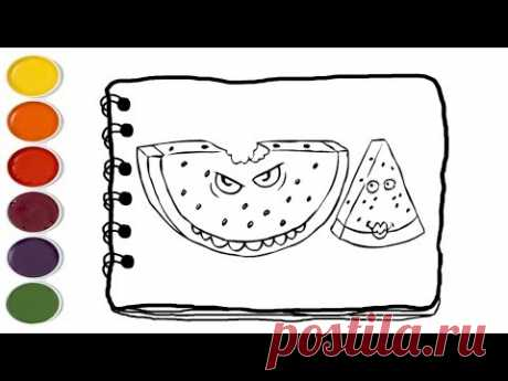 💎How to Draw Watermelon Coloring Pages Fruit   | Coloring Pages For Kids | Kids drawing easy - YouTube
