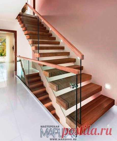 Изготовление лестниц, ограждений, перил Маршаг – Стеклянная лестницы консольная