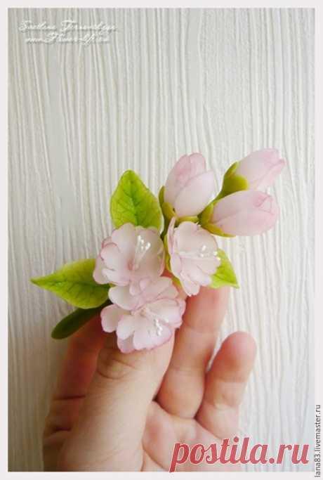Лепим веточку сакуры из полимерной глины - Ярмарка Мастеров - ручная работа, handmade