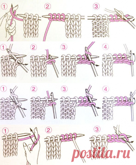 Прибавление нескольких петель по краю изделия   каталог вязаных спицами узоров
