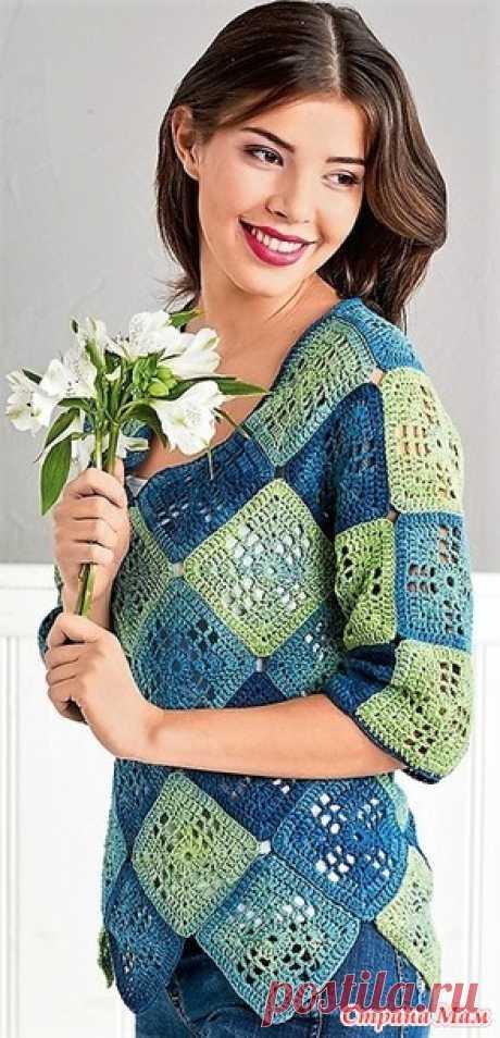 . Сине-зеленый пуловер из бабушкиных квадратов. - Все в ажуре... (вязание крючком)