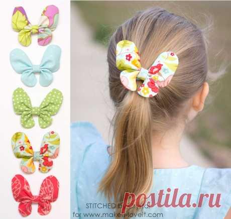 Бабочки из ткани - украшение для волос.Мировая мама.